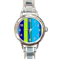 Blue And Green Lines Round Italian Charm Watch by Valentinaart