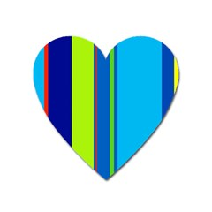 Blue And Green Lines Heart Magnet by Valentinaart
