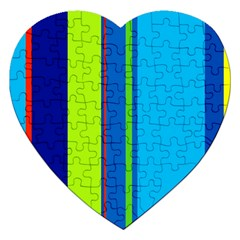 Blue And Green Lines Jigsaw Puzzle (heart) by Valentinaart