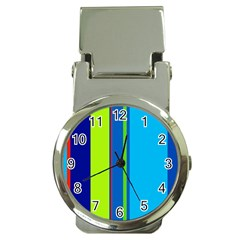 Blue And Green Lines Money Clip Watches by Valentinaart