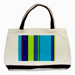 Blue And Green Lines Basic Tote Bag (two Sides) by Valentinaart