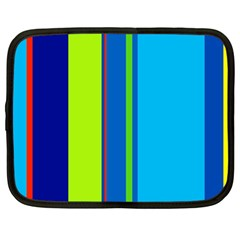Blue And Green Lines Netbook Case (large) by Valentinaart