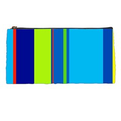 Blue And Green Lines Pencil Cases by Valentinaart