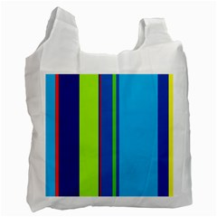 Blue And Green Lines Recycle Bag (one Side) by Valentinaart