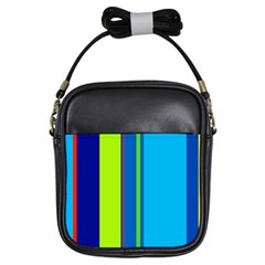 Blue And Green Lines Girls Sling Bags by Valentinaart