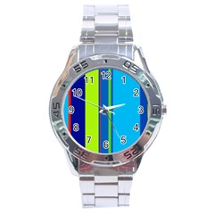 Blue And Green Lines Stainless Steel Analogue Watch by Valentinaart