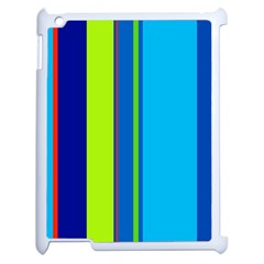 Blue And Green Lines Apple Ipad 2 Case (white) by Valentinaart