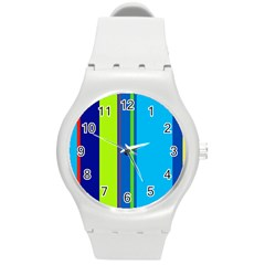 Blue And Green Lines Round Plastic Sport Watch (m) by Valentinaart