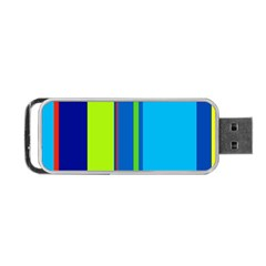 Blue And Green Lines Portable Usb Flash (one Side) by Valentinaart