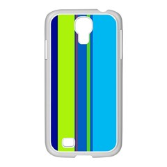 Blue And Green Lines Samsung Galaxy S4 I9500/ I9505 Case (white) by Valentinaart
