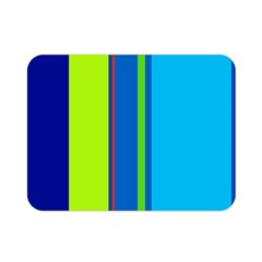 Blue And Green Lines Double Sided Flano Blanket (mini)  by Valentinaart
