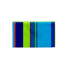 Blue And Green Lines Cosmetic Bag (xs) by Valentinaart