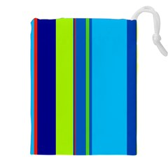 Blue And Green Lines Drawstring Pouches (xxl) by Valentinaart