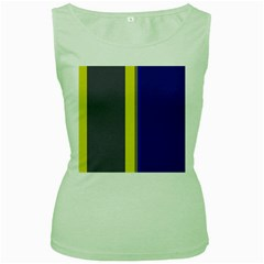 Blue And Yellow Lines Women s Green Tank Top