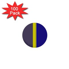 Blue And Yellow Lines 1  Mini Buttons (100 Pack)  by Valentinaart