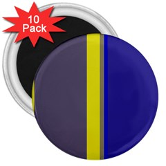 Blue And Yellow Lines 3  Magnets (10 Pack)  by Valentinaart