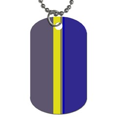 Blue And Yellow Lines Dog Tag (one Side) by Valentinaart