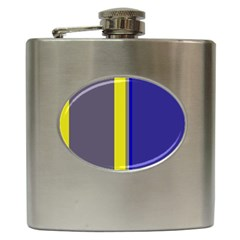 Blue And Yellow Lines Hip Flask (6 Oz) by Valentinaart