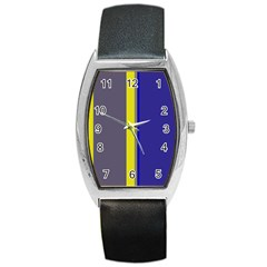 Blue And Yellow Lines Barrel Style Metal Watch by Valentinaart