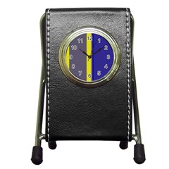 Blue And Yellow Lines Pen Holder Desk Clocks by Valentinaart