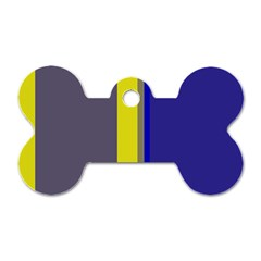 Blue And Yellow Lines Dog Tag Bone (one Side) by Valentinaart