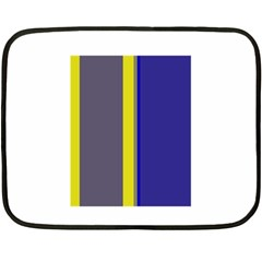 Blue And Yellow Lines Double Sided Fleece Blanket (mini)  by Valentinaart