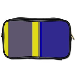 Blue And Yellow Lines Toiletries Bags by Valentinaart