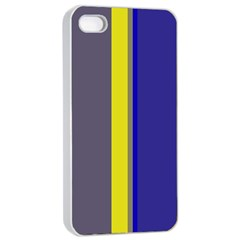 Blue And Yellow Lines Apple Iphone 4/4s Seamless Case (white) by Valentinaart