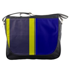 Blue And Yellow Lines Messenger Bags by Valentinaart
