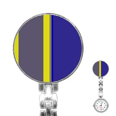 Blue And Yellow Lines Stainless Steel Nurses Watch by Valentinaart