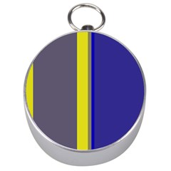 Blue And Yellow Lines Silver Compasses by Valentinaart