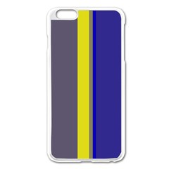 Blue And Yellow Lines Apple Iphone 6 Plus/6s Plus Enamel White Case