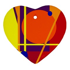 Orange Abstract Design Ornament (heart)  by Valentinaart