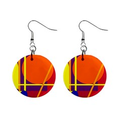 Orange Abstract Design Mini Button Earrings by Valentinaart