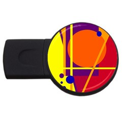 Orange Abstract Design Usb Flash Drive Round (4 Gb)  by Valentinaart