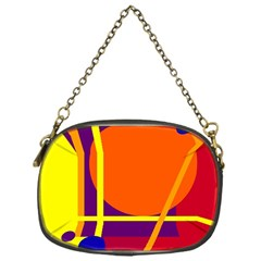 Orange Abstract Design Chain Purses (one Side)  by Valentinaart