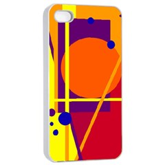 Orange Abstract Design Apple Iphone 4/4s Seamless Case (white) by Valentinaart