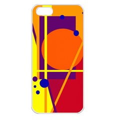 Orange Abstract Design Apple Iphone 5 Seamless Case (white) by Valentinaart