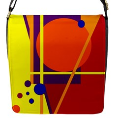 Orange Abstract Design Flap Messenger Bag (s) by Valentinaart