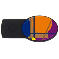 Decorative Abstract Design Usb Flash Drive Oval (4 Gb)  by Valentinaart