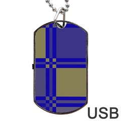 Blue Design Dog Tag Usb Flash (one Side) by Valentinaart