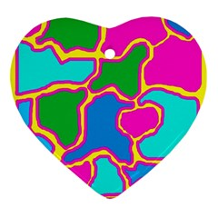 Colorful Abstract Design Ornament (heart)  by Valentinaart