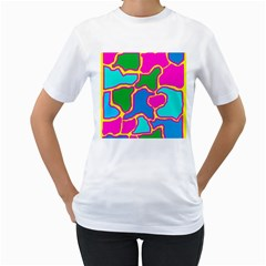Colorful Abstract Design Women s T Shirt (white) (two Sided) by Valentinaart