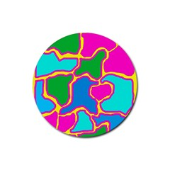 Colorful Abstract Design Rubber Round Coaster (4 Pack)  by Valentinaart
