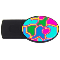 Colorful Abstract Design Usb Flash Drive Oval (2 Gb)  by Valentinaart