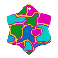 Colorful Abstract Design Snowflake Ornament (2 Side) by Valentinaart