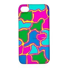 Colorful Abstract Design Apple Iphone 4/4s Hardshell Case With Stand by Valentinaart