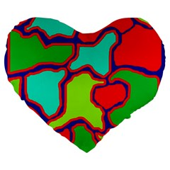 Colorful Abstract Design Large 19  Premium Flano Heart Shape Cushions by Valentinaart