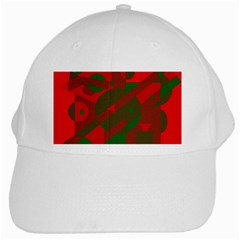 Red And Green Abstract Design White Cap by Valentinaart