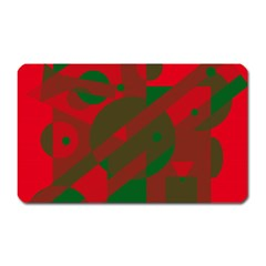 Red And Green Abstract Design Magnet (rectangular) by Valentinaart